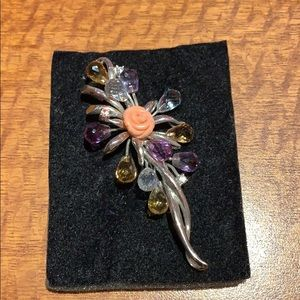 Large brooch with Citrine aquamarine and Amethyst